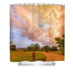 Country Road Into The Storm Front Shower Curtain by James BO  Insogna