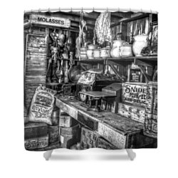 Country Store Supplies Black And White Shower Curtain by Ken Smith