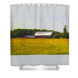 Countryside Landscape With Red Barns Shower Curtain by Ben and Raisa Gertsberg