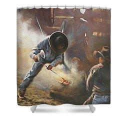 Cowboy Bar-code Shower Curtain by Mia DeLode