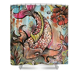 Coy Koi Shower Curtain by Shadia Derbyshire