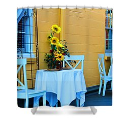 Cozy Table For Two Shower Curtain by Cynthia Guinn
