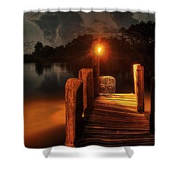 Crab Pot At The End Of The Dock Shower Curtain by Michael Thomas