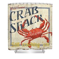 Crab Shack Shower Curtain by Debbie DeWitt