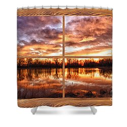 Crane Hollow Sunrise Barn Wood Picture Window Frame View Shower Curtain by James BO  Insogna