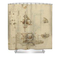 Crank Spinning Machine With Several Details Shower Curtain by Leonardo Da Vinci