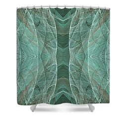 Crashing Waves Of Green 2 - Panorama - Abstract - Fractal Art Shower Curtain by Andee Design