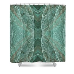 Crashing Waves Of Green 3 - Abstract - Fractal Art Shower Curtain by Andee Design