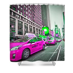 Crazy Cabs In Manhattan Shower Curtain by Delphimages Photo Creations