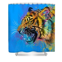 Crazy Tiger Shower Curtain by Olga Shvartsur