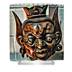 Creepy Mask Two Shower Curtain by Alice Gipson