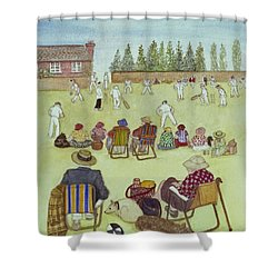 Cricket On The Green, 1987 Watercolour On Paper Shower Curtain by Gillian Lawson