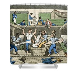 Crossing The Line, Plate From The Shower Curtain by Thomas Rowlandson