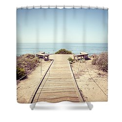 Crystal Cove Overlook Retro Picture Shower Curtain by Paul Velgos