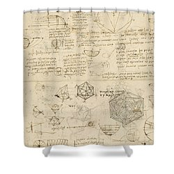 Cube Sphere Icosahedron Mention Of Known Project For Telescope  Shower Curtain by Leonardo Da Vinci