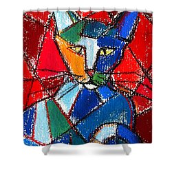 Cubist Colorful Cat Shower Curtain by Mona Edulesco