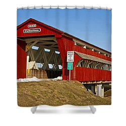 Culbertson Or Treacle Creek Covered Bridge Shower Curtain by Jack R Perry