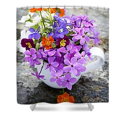 Cup Full Of Wildflowers Shower Curtain by Edward Fielding