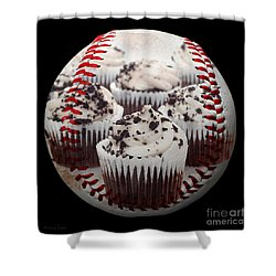 Cupcake Cuties Baseball Square Shower Curtain by Andee Design