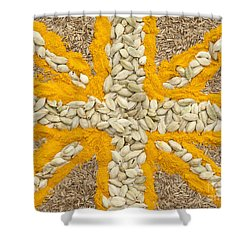 Curried Flag Shower Curtain by Anne Gilbert