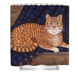 Curry The Cat Shower Curtain by Linda Mears