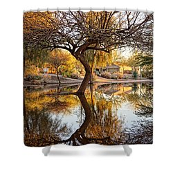 Curved Reflection Shower Curtain by Kerri Mortenson