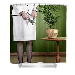 Cutting Plant Shower Curtain by Joana Kruse