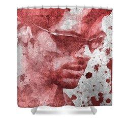 Cyclops X Men Paint Splatter Shower Curtain by Dan Sproul