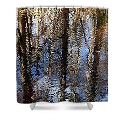 Cypress Reflection Nature Abstract Shower Curtain by Carol Groenen