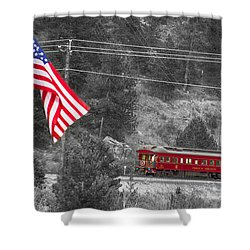 Cyrus K. Holliday Rail Car And Usa Flag Bwsc Shower Curtain by James BO  Insogna