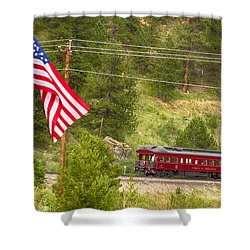 Cyrus K. Holliday Rail Car And Usa Flag Shower Curtain by James BO  Insogna