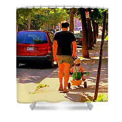 Daddy's Little Buddy Perfect Day Wagon Ride Montreal Neighborhood City Scene Art Carole Spandau Shower Curtain by Carole Spandau