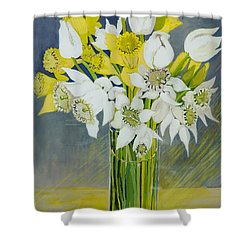 Daffodils And White Tulips In An Octagonal Glass Vase Shower Curtain by Joan Thewsey