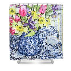 Daffodils Tulips And Irises With Blue Antique Pots  Shower Curtain by Joan Thewsey