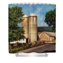 Dairy Farming Shower Curtain by Lois Bryan