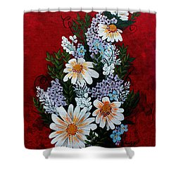 Daisies Lilacs And Forget Me Nots Shower Curtain by Barbara Griffin
