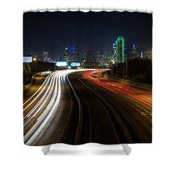 Dallas Night Light Shower Curtain by Jonathan Davison