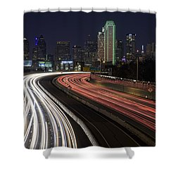 Dallas Night Shower Curtain by Rick Berk