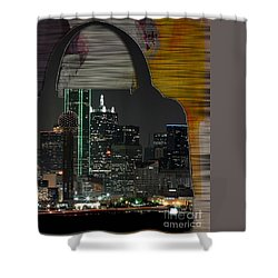 Dallas Texas Skyline In A Purse Shower Curtain by Marvin Blaine