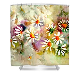 Dance Of The Daisies Shower Curtain by Neela Pushparaj
