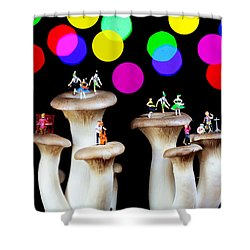 Dancing On Mushroom Under Starry Night Shower Curtain by Paul Ge