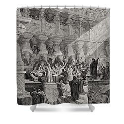 Daniel Interpreting The Writing On The Wall Shower Curtain by Gustave Dore