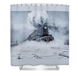 Dashing Through The Snow Shower Curtain by David Mittner