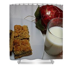 Date Squares - Snack - Dessert - Milk Shower Curtain by Barbara Griffin
