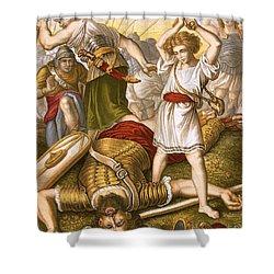 David Slaying Goliath Shower Curtain by English School