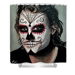 Day Of The Dead - Heath Ledger Shower Curtain by Tom Carlton
