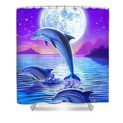 Day Of The Dolphin Shower Curtain by Robin Koni