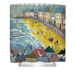 Day On The Beach Shower Curtain by Trudy Kepke