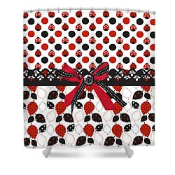 Dazzling Ladybugs  Shower Curtain by Debra  Miller