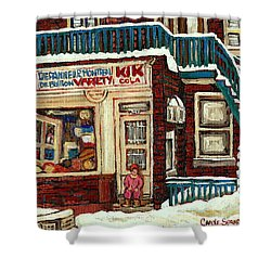 De Bullion Street Depanneur Kik Cola Montreal Streetscenes Shower Curtain by Carole Spandau